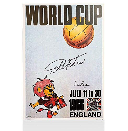 Sir Geoff Hurst & Martin Peters Signed 1966 World Cup Poster Autograph - Autographed Soccer Photos