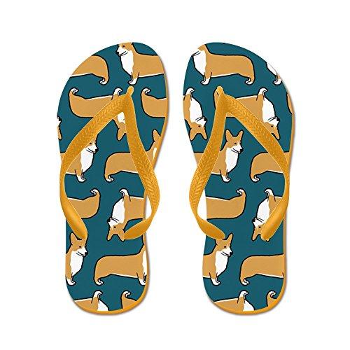 CafePress Corgipillow2 - Flip Flops, Funny Thong Sandals, Beach Sandals Orange
