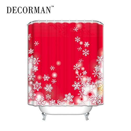 Prime Leader Crystalline Snowflakes on Red Background WaterProof Polyester Fabric Shower Curtain Bath Decor Curtain,70