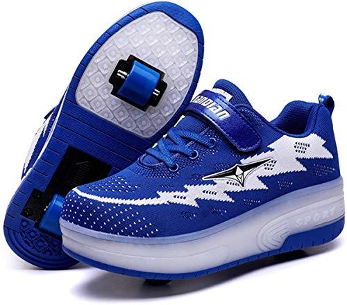 SRD-Unisex Kids LED USB rechargeable Flashing Roller Skates Shoes Wheels Retractable Technical Skateboarding Sport…