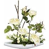 Atmosphera Composizione di rose artificiali, altezza: 36,5 cm, piatto in ceramica