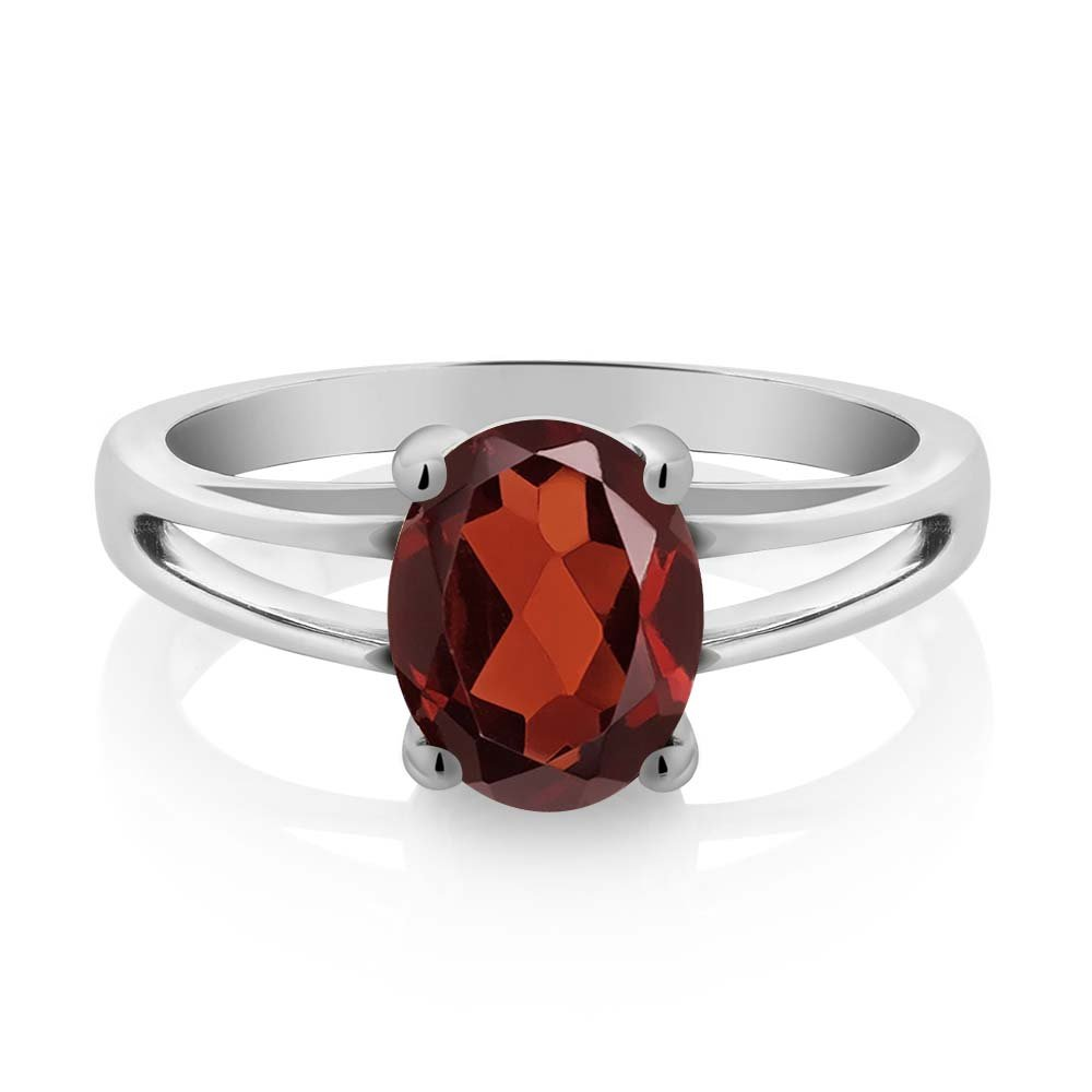 Sterling Silver Red Oval Garnet Women's Solitaire Ring 2.85 cttw (Size 5)