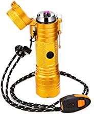 Electric Lighter Waterproof,Arc Plasma USB Windproof Lighter Rechargeable,Survival Lighter with Flashlight&