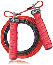5BILLION Jump Rope & Skipping Rope - Groove Handle - Adjustable with Ball Bearings - Workout for Double Un