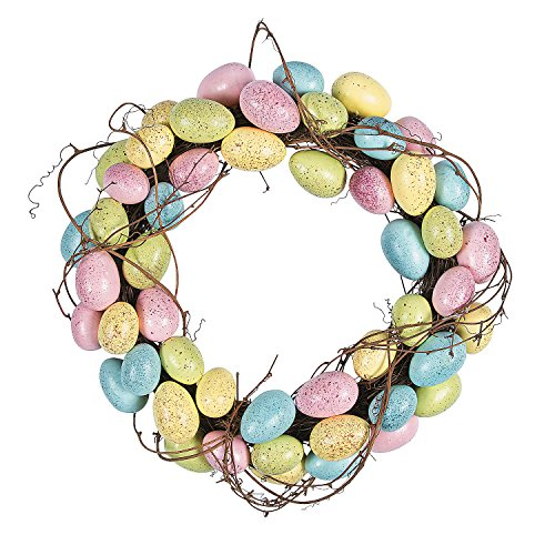 Easter Egg Wreath - Easter Egg Wreath by Fun Express - Rustic Style - 16 Inch Diameter