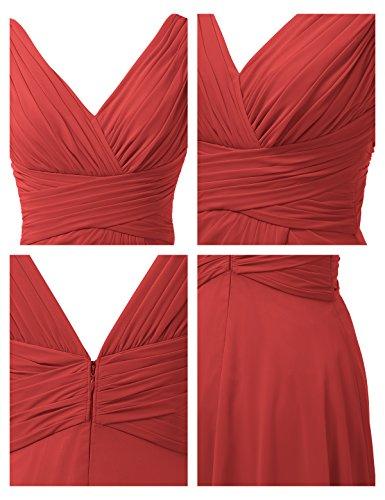 Nuziale Rosso Di collo Festa Donne Abiti Sfera Alicepub Delle Maxi Damigella Vestito Da Una L'abito Di Linea V 8Fw1T6q