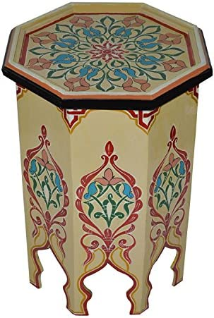 Moroccan Handmade Wood Table Side Delicate Hand Painted Beige Exquisite