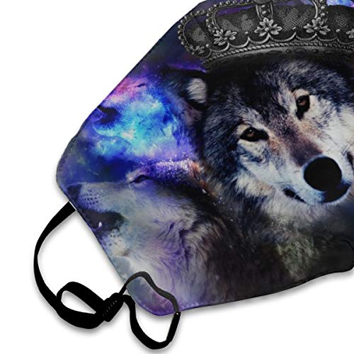 Crown Galaxy Wolf Animals Anti-Dust Face Mask for Men Womens Kids Teens,Dustproof Mouth Mask for Smoke Allergies Outdoors Festivals Sport Dust with Adjustable Ear Loops
