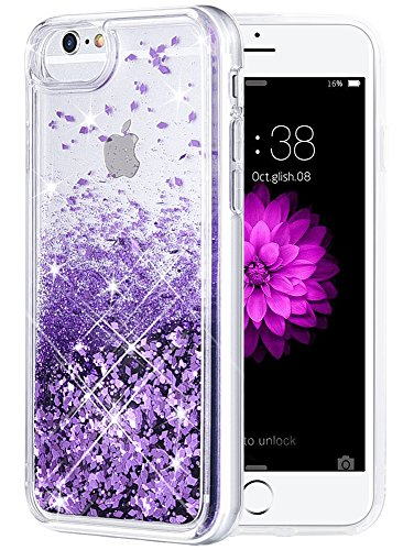 Purple Phone Case - iPhone 6/6S/7/8 Case, Caka iPhone 6S Glitter Case with Tempered Glass Screen Protector Bling Flowing Floating Luxury Glitter Sparkle Soft TPU Liquid Case for iPhone 6/6S/7/8 (4.7 inch) - (Purple)