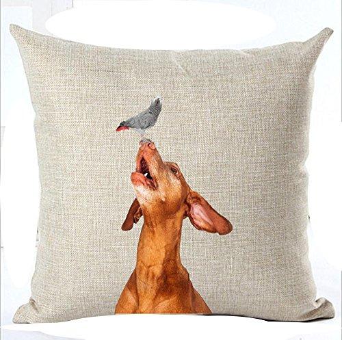 "Animal Pet dog Beagle Dachshund Vizsla Throw Pillow Cover Cushion Case Cotton Linen Material Decorative 18 "" Square (12)"