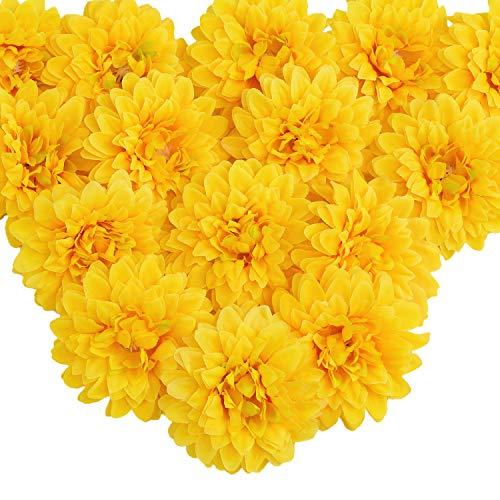 (Silk Marigold Flower Heads Bulk, Artificial Marigold Flowers Artificial Yellow Flowers Heads Bulk for Party DIY Festival Home Decor Hat Ornament 15pcs (Yellow) )