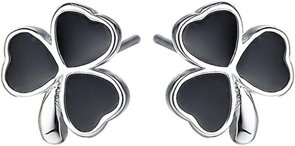 S925 plata esterlina plateado vintage ónix negro ágata tres trébol hoja mujer Stud pendientes