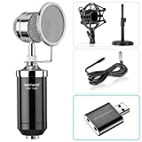 Neewer Desktop Condenser Microphone for Windows Computer and Mac for Studio Broadcast Recording, with Audio Cable, Table Stand, Shock Mount, Wind Screen Filter and USB 2.0 External Sound Card Adapter