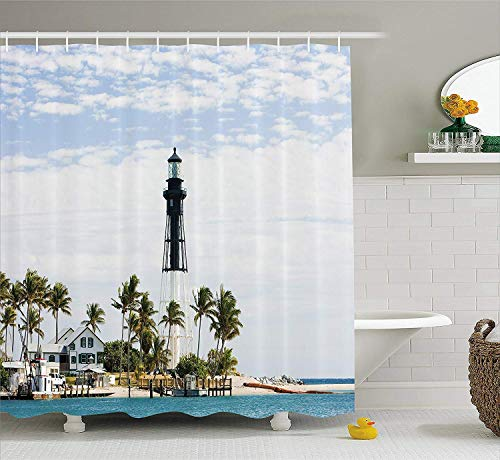 - GOOESING United States Shower Curtain,Hillsboro Lighthouse Pompano Beach Florida Atlantic Ocean Palms Coast Design Polyester Waterproof Fabric with 12 Rust Proof Hooks,66 X 72 Inches