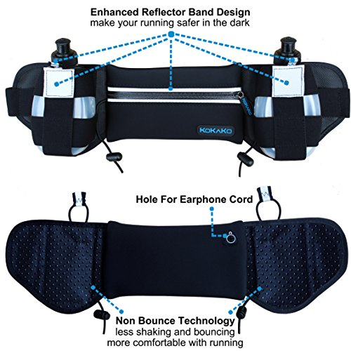KOKAKO Hydration Running belt With 2 Water Bottles Waist Pack for Runners Women and Man Neoprene Belt for Marathon running Hiking Cycling Climbing and for iPhone, iPod, Samsung etc.