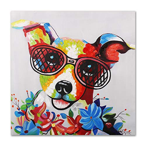 Art Hub 100% Hand Painted Oil Painting Modern Pop Art Decor (Framed) Happy Jack Russell Terrier with Glasses Home Decor Wall Art, Gallery Wrap Inner Frame, 24x24