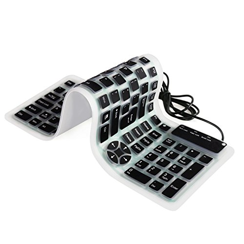 Usb Washable Keyboard - YUMQUA Portable Foldable Silicone Keyboard Wired USB Flexible Waterproof Washable Soft Roll Up Keyboard Travel (107 Keys) for Laptop PC Mac Devices