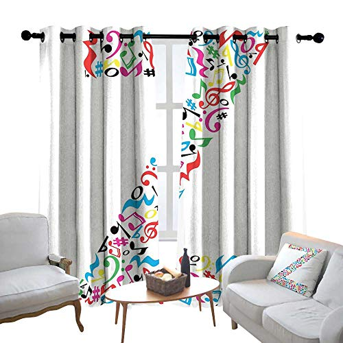 Decorative Curtains for Living Room Letter Z,Collection of Vibrant Musical Signs and Notes in Shape of Capital Z Alphabet Font,Multicolor,Blackout Draperies for Bedroom 52
