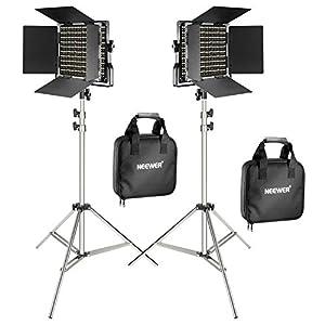 Neewer Pacchetto di due Luci LED 660 Illuminazione Video con Cavalletto in acciaio inox di 200cm Kit:LED Luce Bi-colore… 5 spesavip