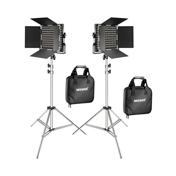 Neewer Pacchetto di due Luci LED 660 Illuminazione Video con Cavalletto in acciaio inox di 200cm Kit:LED Luce Bi-colore… 1 spesavip