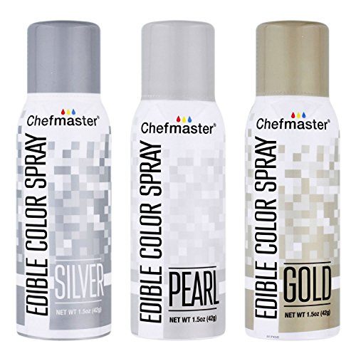 U.S. Cake Supply by Chefmaster Edible Spray Food Coloring 3 Color Kit - Gold, Silver, Pearl ()