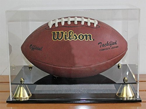 (DisplayGifts Football Display Case Holder Stand with 98% UV Protection Acrylic cover, ALL sides visible (AC-FB05))