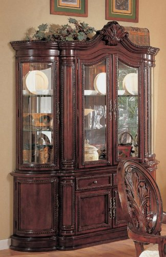China Cabinet Buffet Hutch Traditional English Style Cherry ()