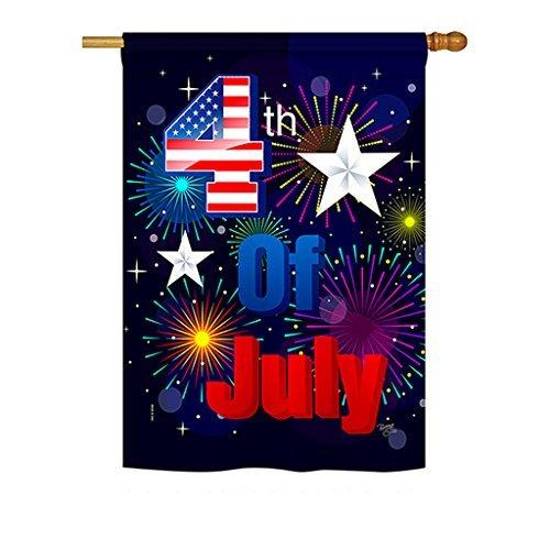 Breeze Decor H111089 Fireworks July 4th Vertical House Flag,