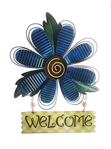 Metal Large Flower Welcome Sign Yard Decor (Yellow) ()