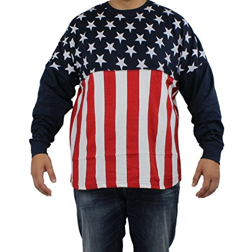 Med Long Sleeved (Stars and Stripes Men's Long Sleeved T-Shirt, American Flag Cotton Tee)