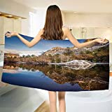 smallbeefly Yosemite Bath Towel Yosemite Mirror Lake and Mountain Reflection on Water Sunset Evening View Picture Bathroom Towels Navy Brown Size: W 27.5'' x L 58''
