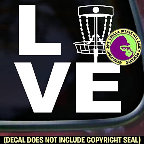 The Gorilla Farm LOVE Word DISC GOLF Frisbee Game Chain Vinyl Decal Bumper Sticker Car Window Sign WHITE