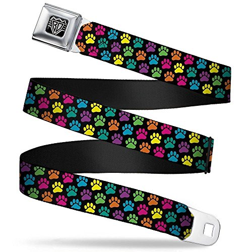 - Buckle-Down Seatbelt Belt - Paw Print Black/Multi Color - 1.5