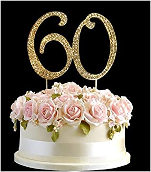 Rhinestone Crystal Birthday Cake Topper Number Pick 60th Diamante Gems Decoration