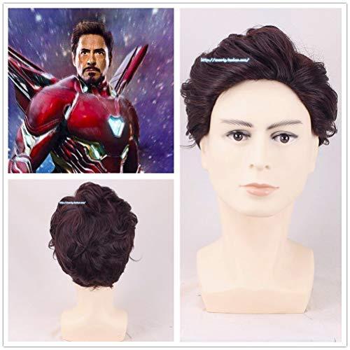 SYH01 Man Tony Stark Wig Robert Downey Jr. Wavy Short Role -