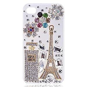 CL - Zircon Torre Eiffel y Perfume estuche rígido Botella para iPhone4/4S