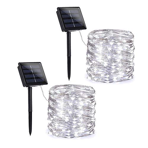 (Toodour Solar String Lights 72ft 200 LED Solar Powered String Lights with 8 Lighting Modes, Waterproof Copper Wire Lights for Garden, Patio, Lawn, Landscape, Home Decor (White, 2 Pack))
