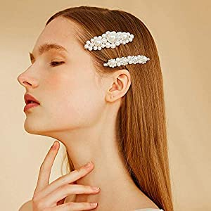 8 pcs Pearls Hair Clips Set for Women Girls, Fashion Sweet Artificial Pearl Barrettes Hair Pins, Perfect Hair Accessories Decorations for Party, Birth