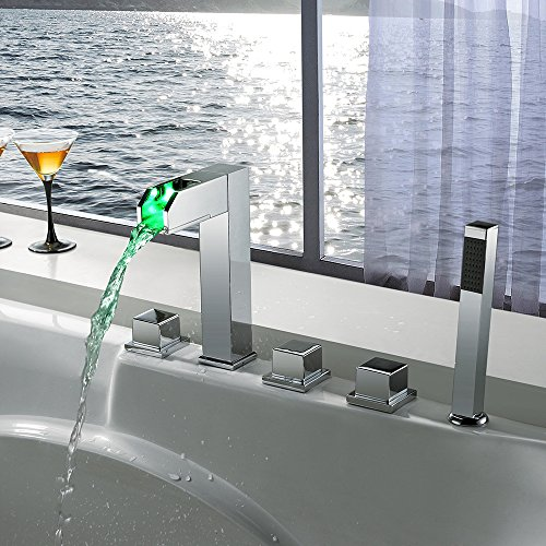 XXW Bathtub faucet Temperature control of three modern minimalist led lights color changing shower plumbing faucet