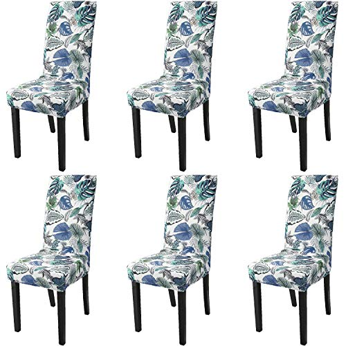 Argstar 6 Pack Chair Covers, Stretch Armless Chair Slipcover for Dining Room Seat Cushion, Spandex Kitchen Parson Chair Protector Cover, Removable & Washable, Botanical Blue Leaves Design