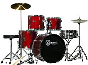 wine red 20 lug full size drum set with cymbals stands sticks stool gammon. Black Bedroom Furniture Sets. Home Design Ideas