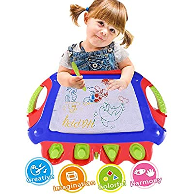 WISHTIME Magnetic Sketch Board Doodle Pro How to Draw Board for Toddler Dry Erase Writing Board Toys Doodle Sketch Learning Toys for Kids (Red-Blue): Toys & Games