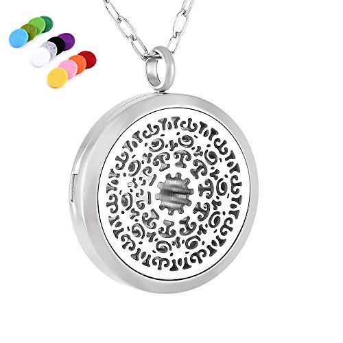 Price comparison product image Fashion Oil Diffuser Locket Stainless Steel Essential oil Fragrancy Jewlery With Link Chain
