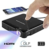 Magnasonic Mini Portable Pico Video Projector, HDMI, Rechargeable Battery, Built-In Speakers, DLP, Vibrant 100 Lumen Brightness for Movies, Presentations, Gaming, Smartphones, Tablets, Laptops (PP71)
