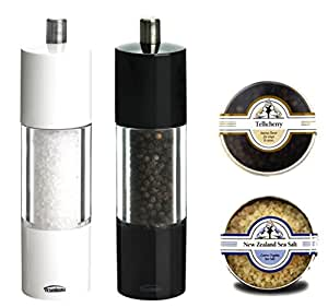 Trudeau Salt and Peppermill Ceramic Grinders Set with Gourmet New Zealand Sea Salt and Fresh Telicherry Pepper