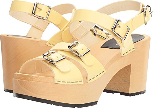 swedish hasbeens Women's Buckle Sandal Pastel Yellow Clog/Mule (Mule Sandals Buckle)