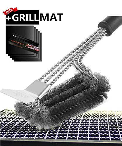 0 degree Grill Brush with Grill Mat and Scraper BBQ Cleaner Accessories Stainless Steel Grill Cleaner Cleaning Kit with Stiff Wire Bristle Triple Head Scrubber for Weber Gas/Charcoal Grill