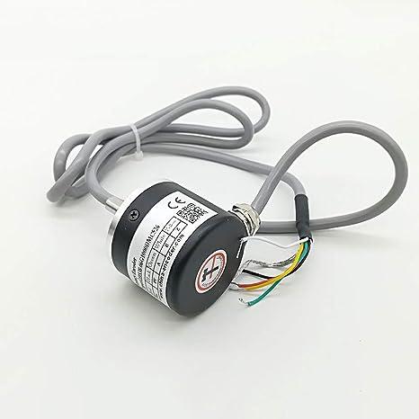 CALT - Codificador rotativo óptico de 38 mm con eje sólido ABZ de 3 fases, fuente de alimentación IP67 de 5 a 26 V de voltaje amplio, 100ppr, ...