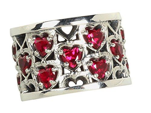 King Baby Studio Women's Heart Patterned Ring with Garnet Stones Sterling Silver/Garnet 7