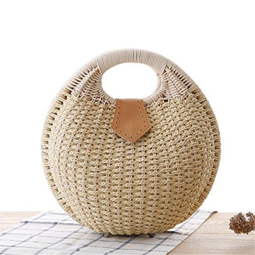N Playa Lady Nest De De Bolsas Beige Verano Vintagge Brown Rattan Femenina Punto Ss3017 De Bolso Snail's Straw Handbag Handmade Mujeres Manualbages Bag pw85Swq